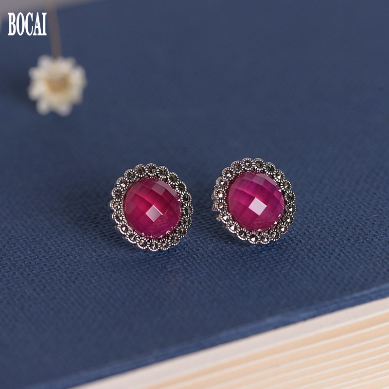 Nouveau 100% réel S925 argent mode ronde femmes boucles d'oreilles ensemble avec corindon rouge Marcsey pierre boucles d'oreilles pour femme 925 argent