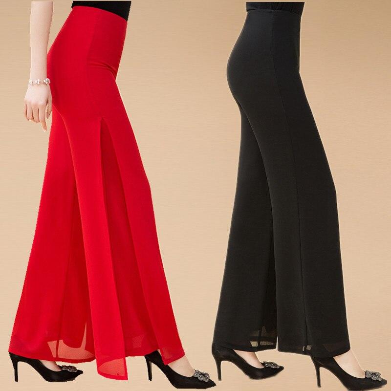 Wide Leg Pants Dance Pant High Quality Solid Chiffon Double Deck Long Pants Women Dance Trousers Cross Pants Casual