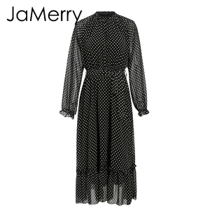 Image 5 - Jamerryヴィンテージ秋の女性のパーティーロングマキシドレスエレガントなランタンスリーブポルカドットプリントドレス休日のビーチスタイルのドレス