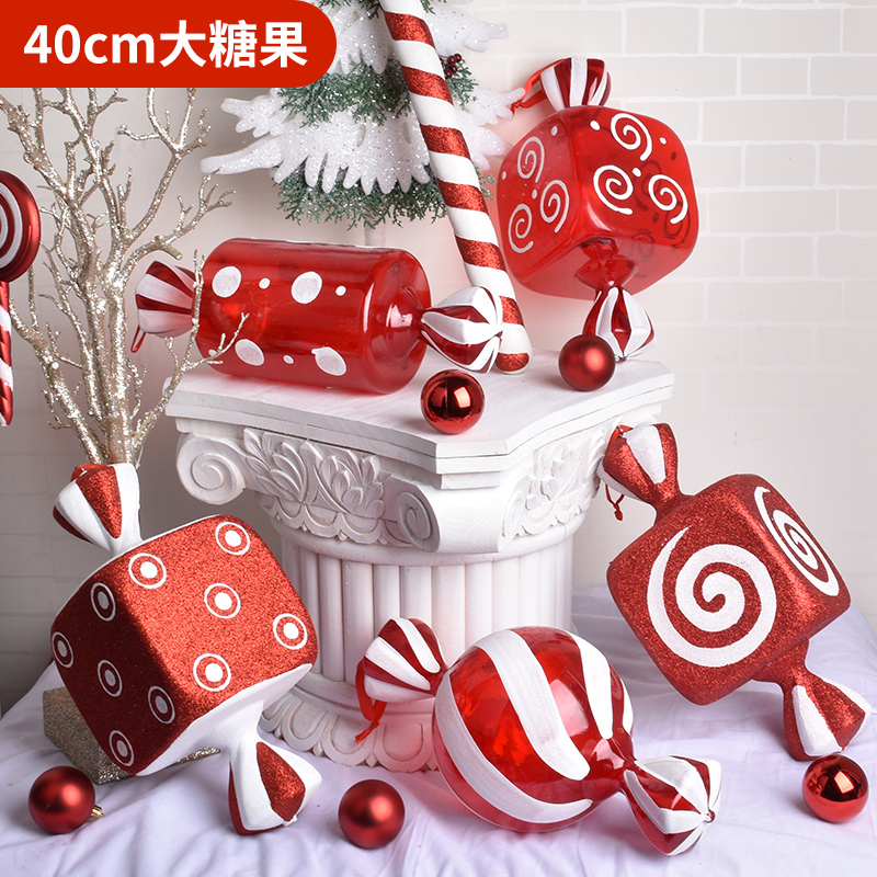 Christmas Decorations Scene Layout Gift Ornaments Pendant Ornaments 40CM Red And White Transparent Painted Candy Props
