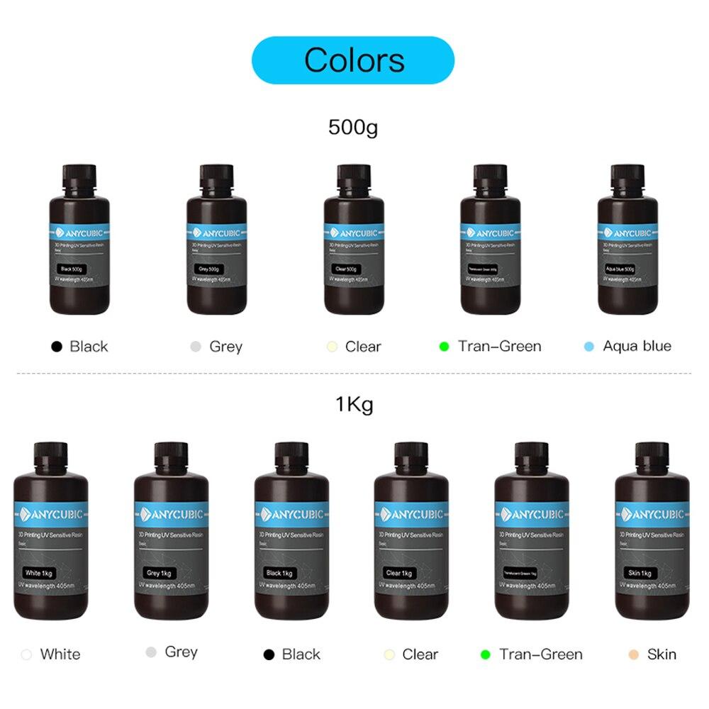 ANYCUBIC 405 нм УФ-смола для 3D-принтера Photon-S Материал для 3d-печати ЖК-дисплей УФ-чувствительная Смола нормальная 500 г/1 кг жидкая бутылка