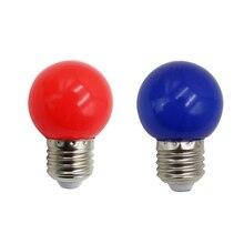 2 шт E27 светодиодные лампы-E27 1W Pe матовый светодиодный Глобус красочный белый/красный/зеленый/синий/желтый Лампа 220V(синий и красный