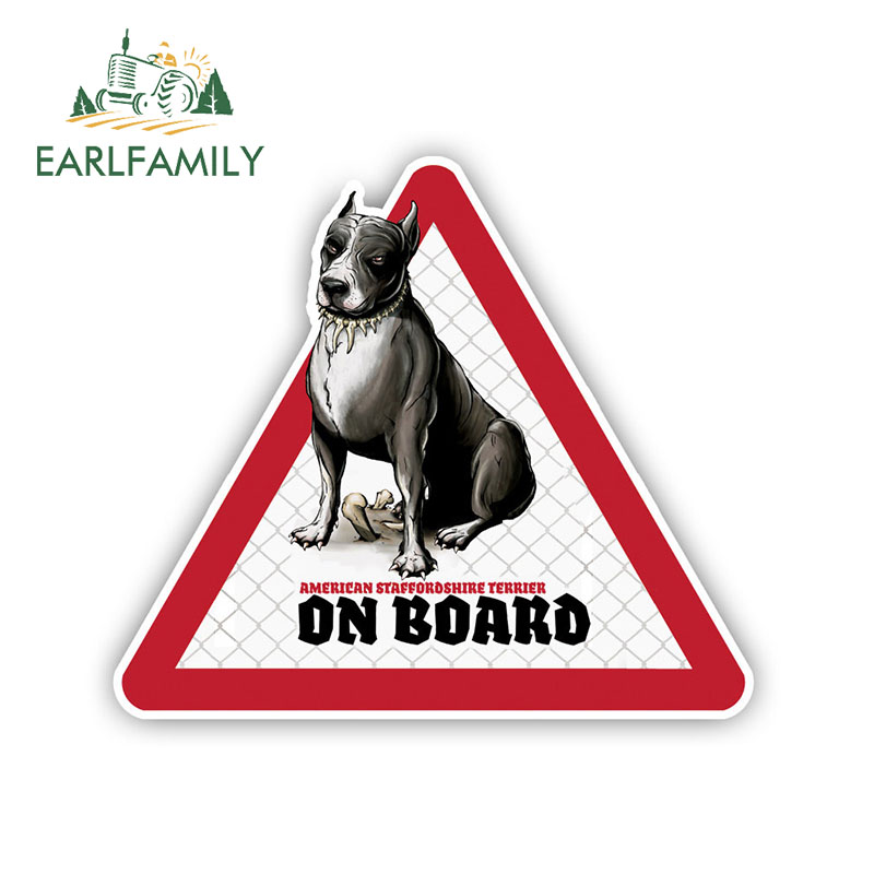EARLFAMILY 12cm X 10.5cm Stafford Dog Car Stickers Dog On Board Decals Pet Dog Decal Dog Warning Sign Funny Stickers