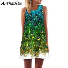 Arthsdite 2019 Women Summer Sexy Bohemian Sleeveless O Neck Beach Dresses Casual Party Feather Print Loose Colorful Mini Dress