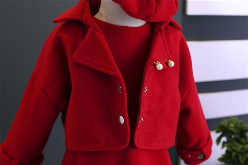 Children Girls Clothing Girls Winter Clothes 2019 Winter Baby Girls Warm Sleeveless Vest Dress +Woolen Jacket Coat 3PCS Sets (1)