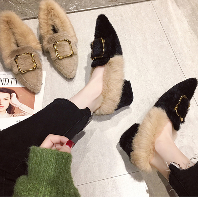 pointed toe mink hair long fur loafers chunky heels metal decoration buckle slip-on moccasins all match furry plush espadrilles 104