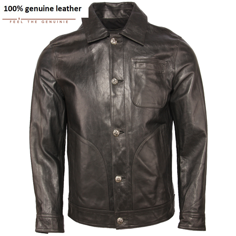 Men Leather Jacket 100% Oil Waxed Sheepskin Soft Thin Genuine Leather Jacket Man Skin Coat Autumn Male Clothing Spring M369
