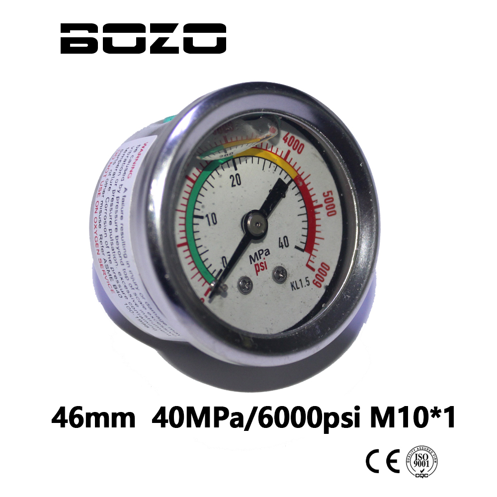 PCP Paintball Airsoft High Pressure Liquid/Oil Filled Diving Pump Pressure Gauges 46MM 40MPA/6000PSI Manometer M10*1