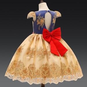 Image 5 - Lüks yay prenses parti elbise bebek kız giysileri çiçek dantel elbiseler kızlar için resmi doğum günü elbise çocuk elbiseleri elbise 7T