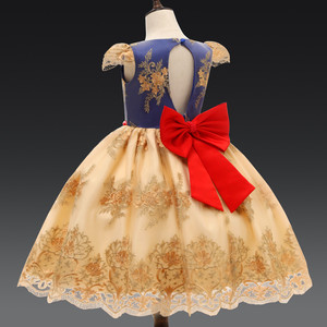 Image 5 - Luxury Bow Princess Party Dress Baby Girl Clothes Flower Lace Dresses For Girls Formal Birthday Clothes Children Dresses Robe 7T
