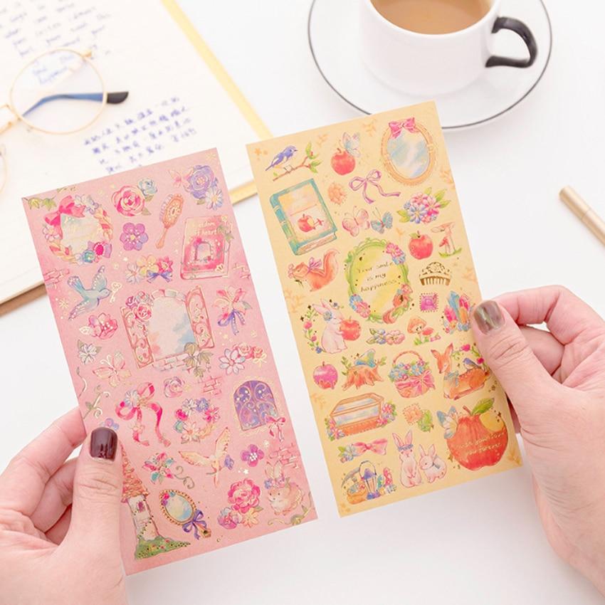 1pcs/lot Kawaii Fantasy Fairy Tale World Princess Flower Sticker Hot Stamping Decoration Scrapbooking DIY Sticker Stationery