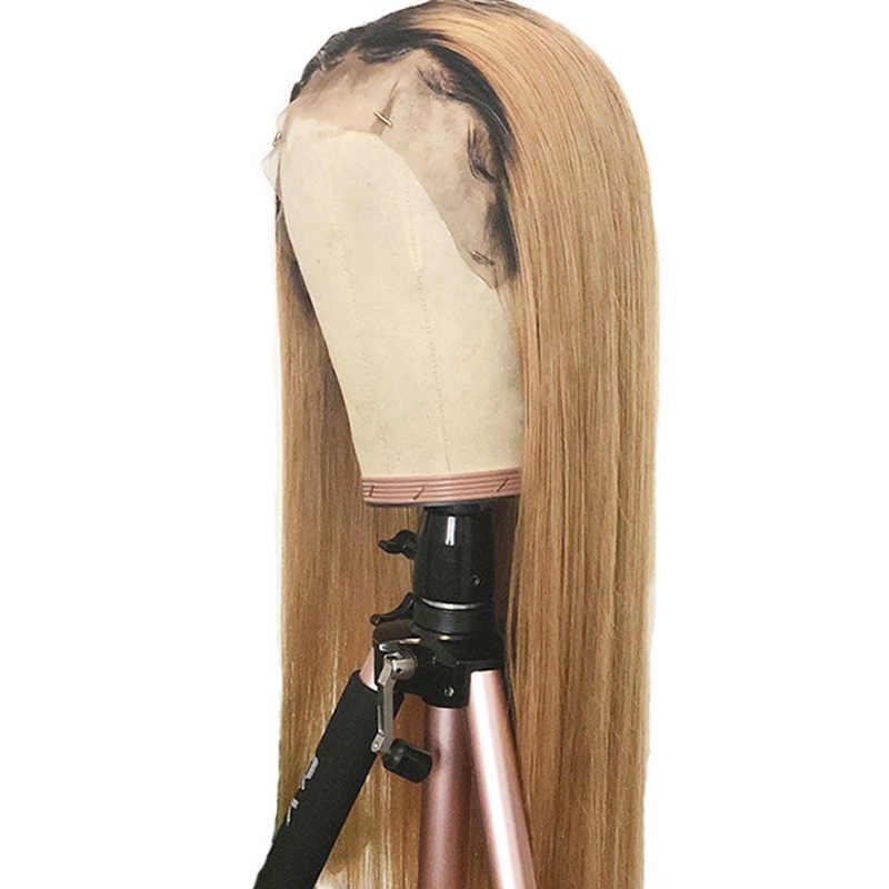 Remyblue #27 Blonde Rechte Kant Voor Menselijk Haar Pruiken T1B/27 Ombre Braziliaanse Remy Lace Front Pruik Pre geplukt Met Baby Haar