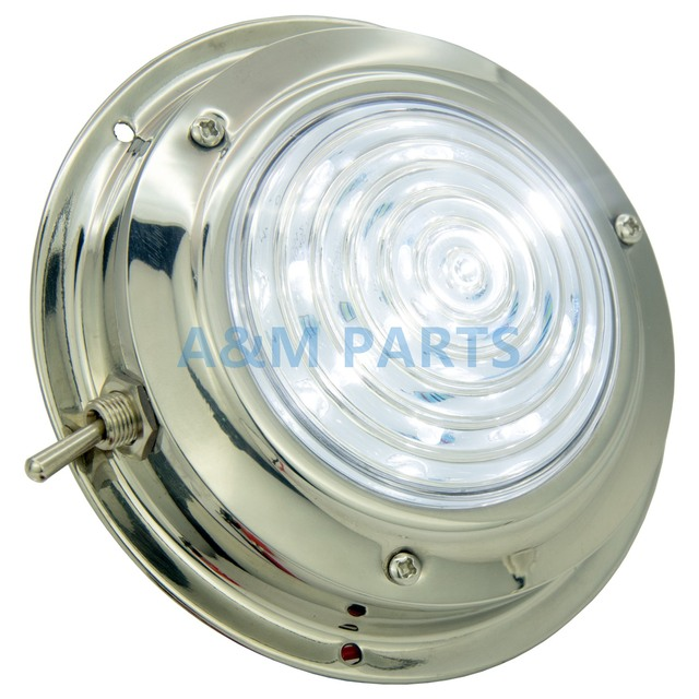 LED Dome Light With Switch 12V Boat Caravan Marine RV Cabin Interior Decorative Lamp Stainless Steel Housing 4.5 inch Cool White