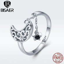 BISAER Authentic 925 Sterling Silver Moon&Stars Adjustable Finger Rings  CZ  Jewelry Making  Valentine Gifts For Women GXR479 bisaer authentic 925 sterling silver gold color mosaic red cz heart pendant necklace for women valentine s gifts jewelry gan014