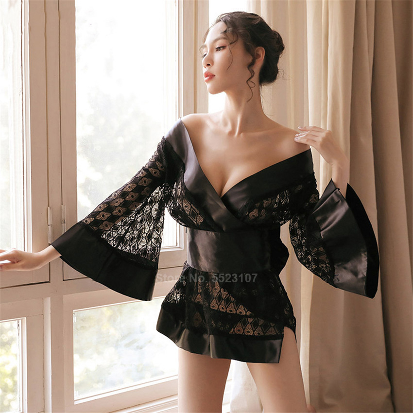 Sexy Lace Women Satin Sleepwear Silk Nightgown Traditional Japanese Kimono Dress Loose Style Deep V-neck Mini Yukata Robe Gown