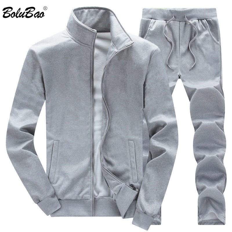 BOLUBAO New Autumn Male Tracksuit Fashion Men's Coat + Trousers Two-Piece Set Solid Color Jacket Loose Trousers Casual Sets