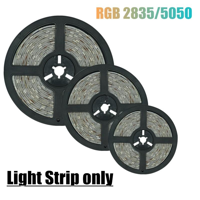 12V RGB LED 5050 2835 только полоски светильник 5 м 10 м из исинской глины для украшения лампы строка Рождество гибкий без Водонепроницаемый Декор дио...
