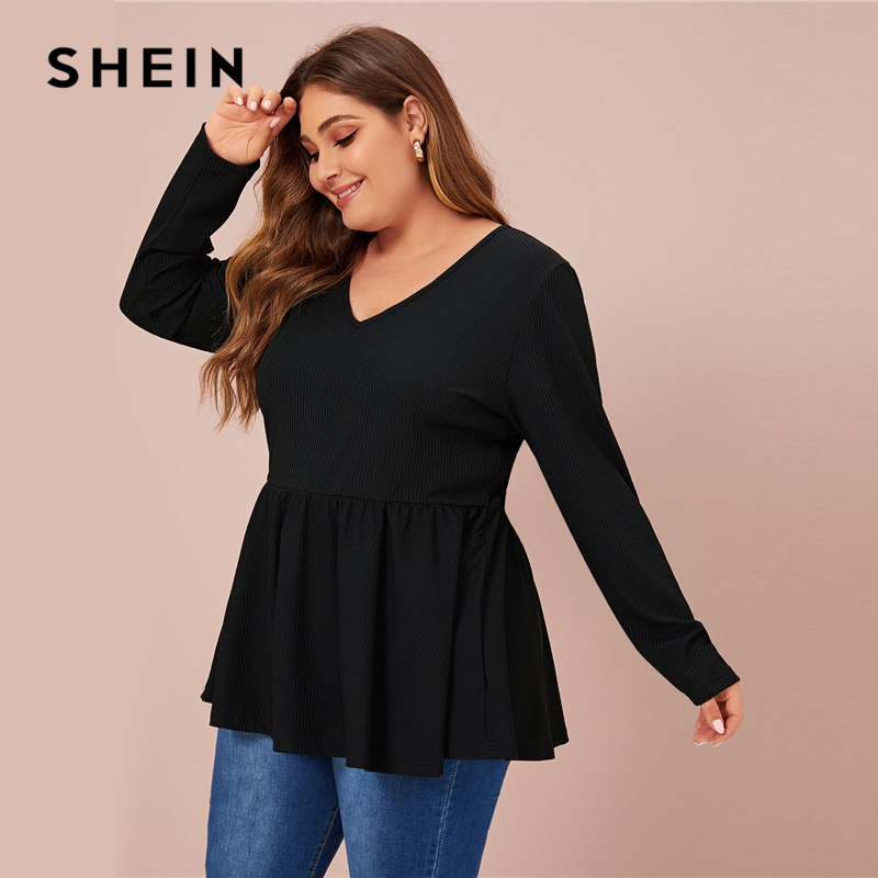 SHEIN Plus Size V Neck Peplum Tee Solid Top Women Spring Autumn Long Sleeve Oversized Stretchy Casual T-shirts 2