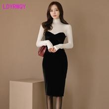 2019 Korean version of autumn and winter womens high collar gold velvet tube top new dress
