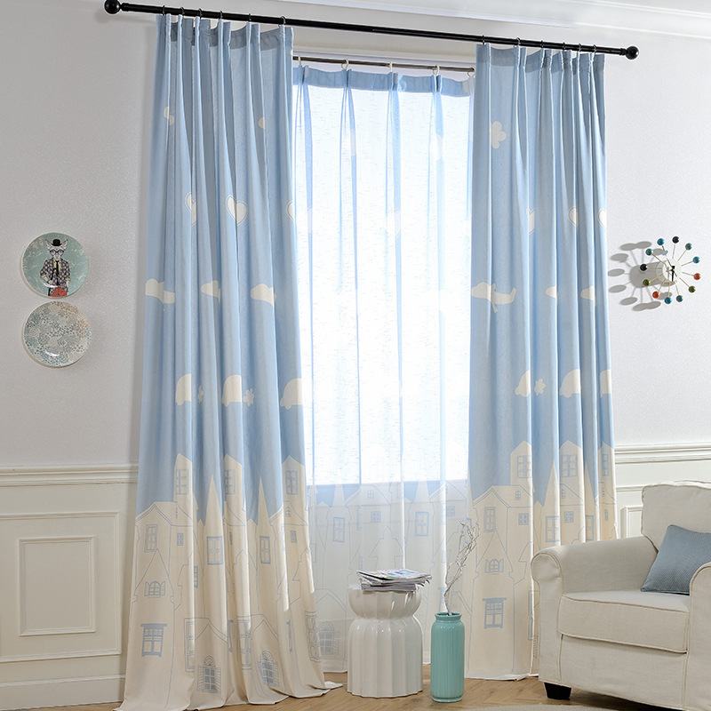 Curtain For Living Dining Room Bedroom  White Cloud Patterns Printing Curtain For Study Room Decoration For Children's Room
