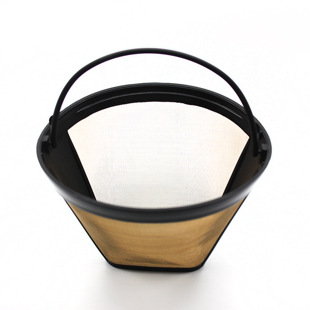 Durable Reusable Coffee Filter 10-12 Cup Permanent Cone-Style Coffee Maker Machine Filter Gold Mesh With Handle Cafe Coffee Too