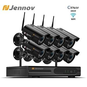 Image 1 - Jennov 1080P كاميرا مراقبة للمنزل نظام NVR واي فاي اللاسلكية 8Ch 2MP كاميرا فيديو كاميرا مراقبة بالدوائر التليفزيونية المغلقة عدة IP66 في الهواء الطلق P2P