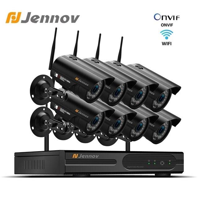 Jennov 1080P كاميرا مراقبة للمنزل نظام NVR واي فاي اللاسلكية 8Ch 2MP كاميرا فيديو كاميرا مراقبة بالدوائر التليفزيونية المغلقة عدة IP66 في الهواء الطلق P2P