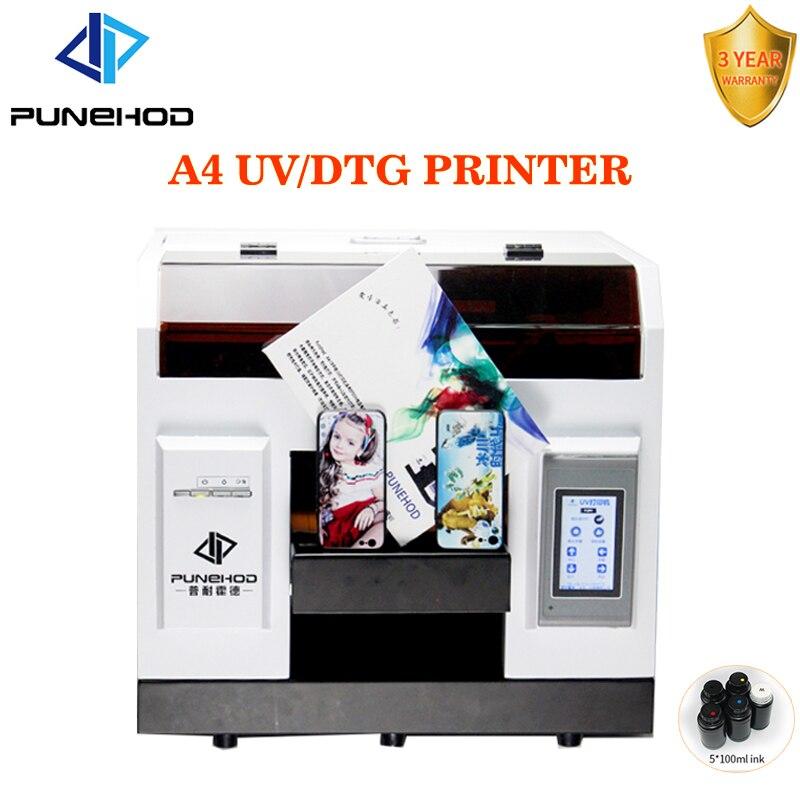 Punehod A4 DTG UV à plat imprimante numérique machine d'impression couleur mobile EPSON R330 tête 3D support de vernis en relief avec encre gratuite