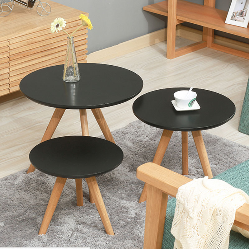 Simple Solid Wood Coffee Table Living Room Corner  Small Round Table Creative Coffee Table