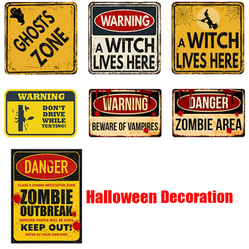 Vintage Plaque Tin Sign Halloween Horror Self-adhesive Car Stickers Plaque Plate Club Classical Retro Paint Warning sticker image