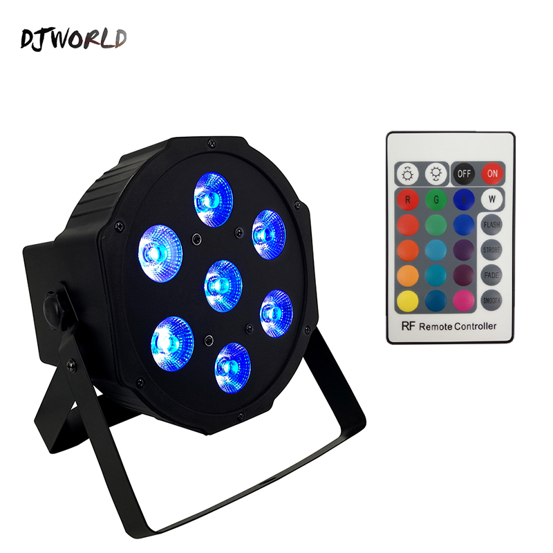 DJWORLD Wireless Remote Control LED Par 7x12W RGBW 4IN1 LED Wash Light Quad Stage Uplighting No Noise Remote Control Professiona