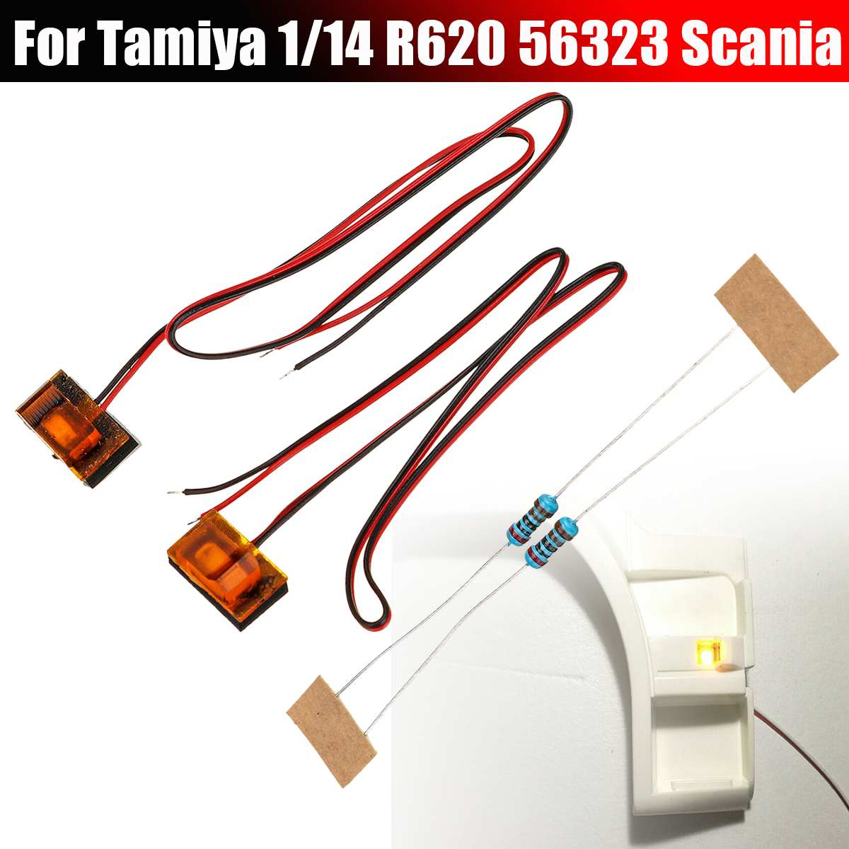 NEW 2PCS Replacement RC <font><b>Truck</b></font> Side Pedal Turn Signal <font><b>Light</b></font> For Tamiya 1/14 Scania R620 56323 RC <font><b>Truck</b></font> Parts RC Car Accessories image