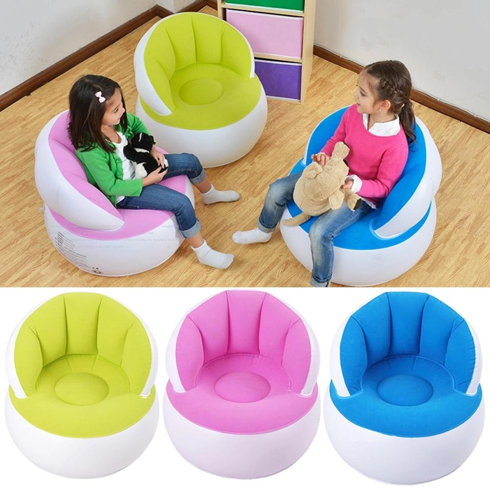 Kids Sofa Children Furniture Inflatable Backrest Cute Flocking Folding Blow Up Chairs For Camping Hiking Gift With Foot Pump