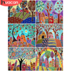 HUACAN Paint By Number House Hand Painted Painting Art Gift DIY Pictures By Numbers Tree Drawing On Canvas Kits Home Decor