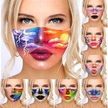 Mascarilla Facial con estampado de labios para hombre y mujer, máscara moderna reutilizable con brillos, lavable al aire libre, maquillaje estampado, protección Facial