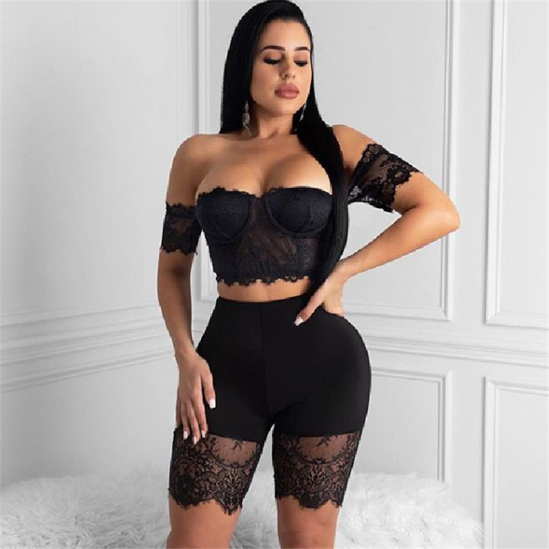 H8fb2908c68e64be48014344c8d92d222T - WUHE Lace Patchwork Sexy Spaghetti Strap Jumpsuits Women Off Shoulder Sleeveless Elegant Bodycon Bandage Party Short Playsuits