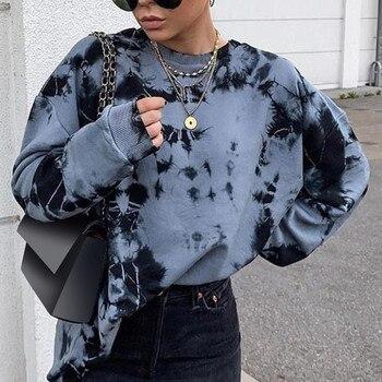 Autumn sweater Tie-dye Print Women's Long Sleeve Drawstring Female 2020 New Streetwear Ladies