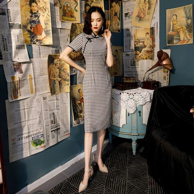 Zwart Wit Plaid Chinese Qipao Jurk Katoen Knie Lengte Cheongsam China College Stijl Kostuum Jurken Vrouwen Vintage Qipao
