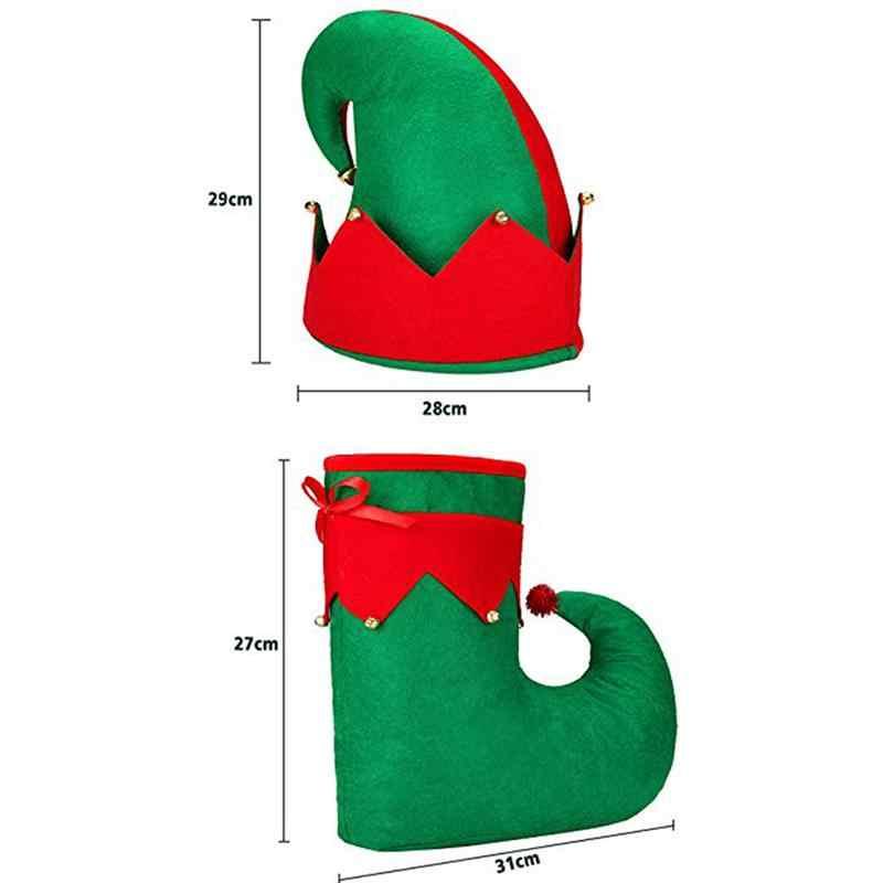 3 pièces de Noël Elfes Chaussures de Noël Bonnet elfes costume rouge vert