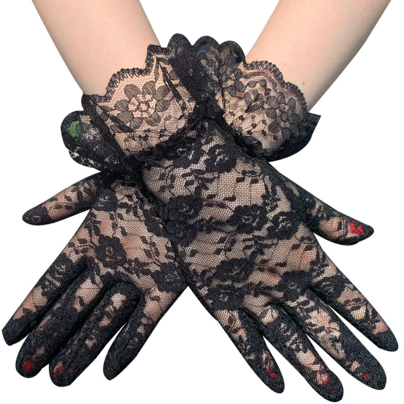 Elegant Courtesy Summer Women Lace Gloves Floral Red Gloves Sun Protection White Gloves Dressy Gloves For Wedding Dinner Parties