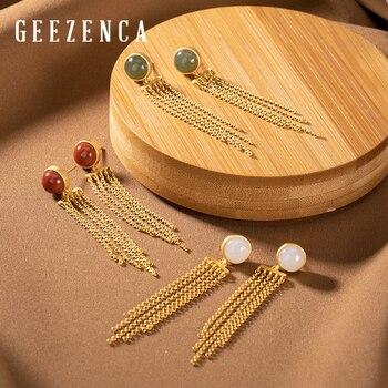 Trendy 925 Sterling Silver Gold Plated Jade Red Agate Tassels Stud Earrings Designer Gemstone Earring Fine Jewelry For Women