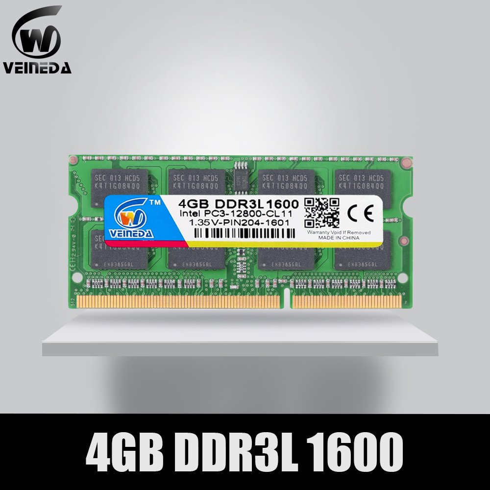 VEINEDA <font><b>Sodimm</b></font> DDR3L 2GB 4GB <font><b>8GB</b></font> 1600MHz Ram Memory DDR 3L PC3-12800 204PIN Compatible All Intel AMD DDR3L laptop image