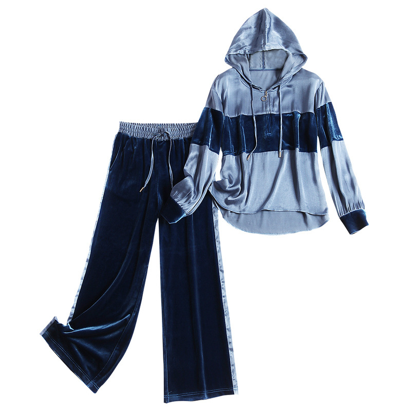 Women Casual Active Pants Suit Hooded Color Block Tops And Blouse + Elastic Waist VELVET Long Pant Two Piece Set New 2019 AUTUMN