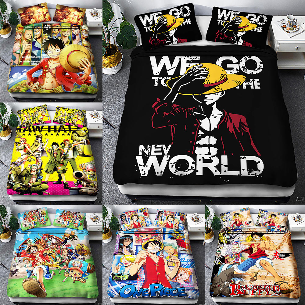 One Piece twin king size designer Bedding Set luxury 3d Cartoon animation 2pcs/3pcs Duvet Cover Sets Pillowcase|Bedding Sets|Home & Garden - title=