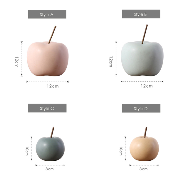 Modern Macaron Home Decor Ceramic Apple Figurines Fruit Arts & Crafts Home Decoration Accessories Sweet Tabletop Ceramic Statues 6