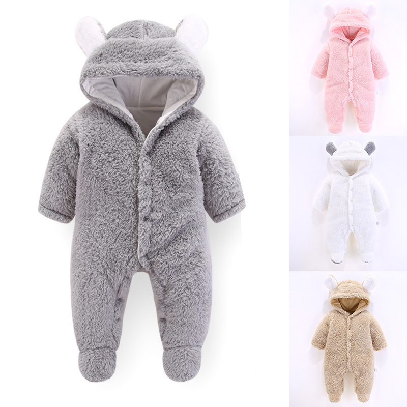 Baby Infant Boys Girls Hooded Romper Winter Jumpsuit Fleece Onesie Out Suit Cute Animal Pattern in Brown Beige Pink