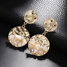 Simple Circle Earrings Wholesale Jewelry Unique Design Crystal Pearl Gold Metal Earrings For Women Round Geometric Earrings(China)