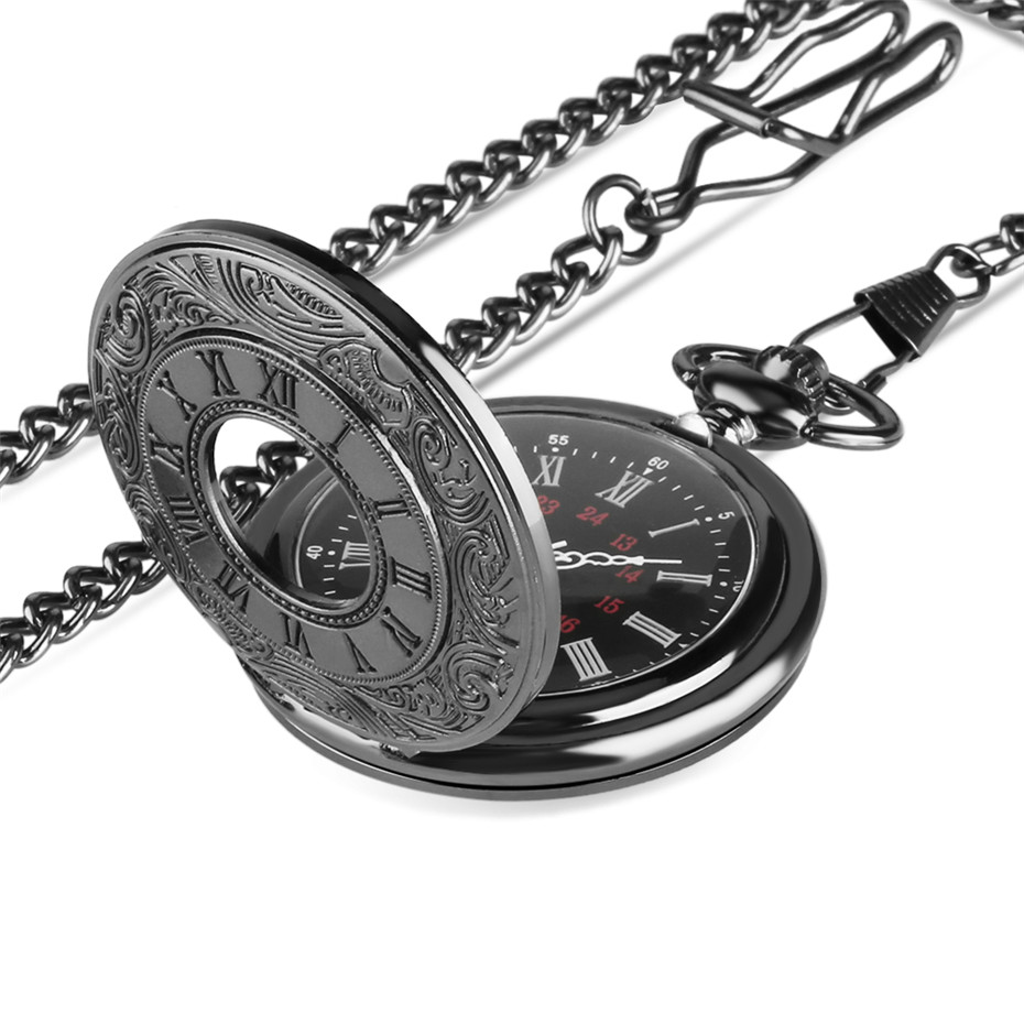 Classic Vintage Bronze Antique Retro Black Smooth White Pin Noble Pocket Watch Long Chain   Necklace P427C