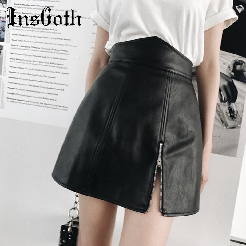 InsGoth High Waist Mini PU Leather Skirts Women Streetwear Harajuku Gothic Black Zipper Sexy Short Skirts Female Casual Skirt