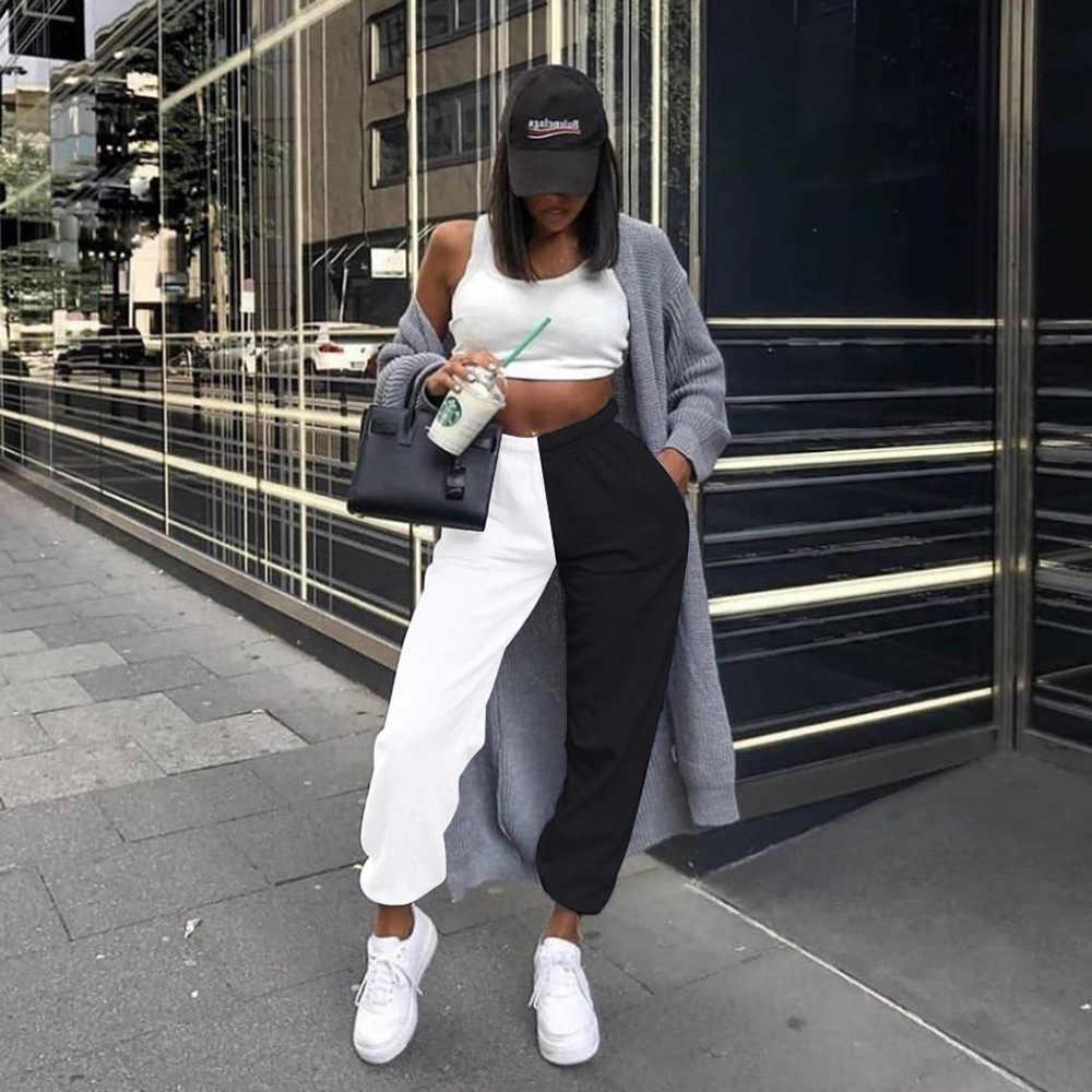Frauen Jogger Hosen Hohe Taille Kühlen Block Farbe ulzzang Harajuku Jogginghose Hip Hop Schweiß Hosen Weibliche Hipster Schwarz Weiß